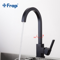 Frap 2018 Square Black Kitchen Sink Faucet Space Aluminum Kitchen Tap 360 Degree Rotation Hot And