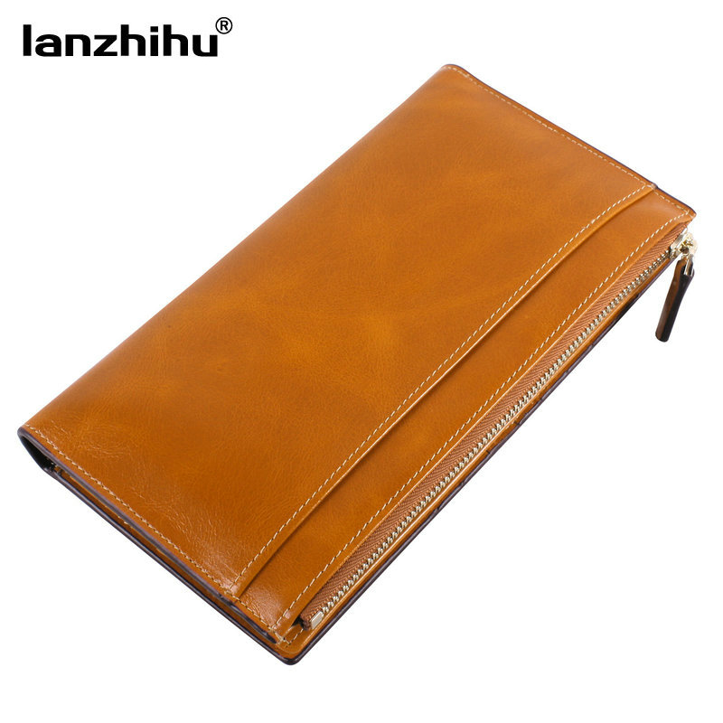 NEW 100% Genuine Leather Wallet Women Money Bag Credit Card Holders 20 Zipper Coin Purse Phone Women Wallets Leather Long Luxury