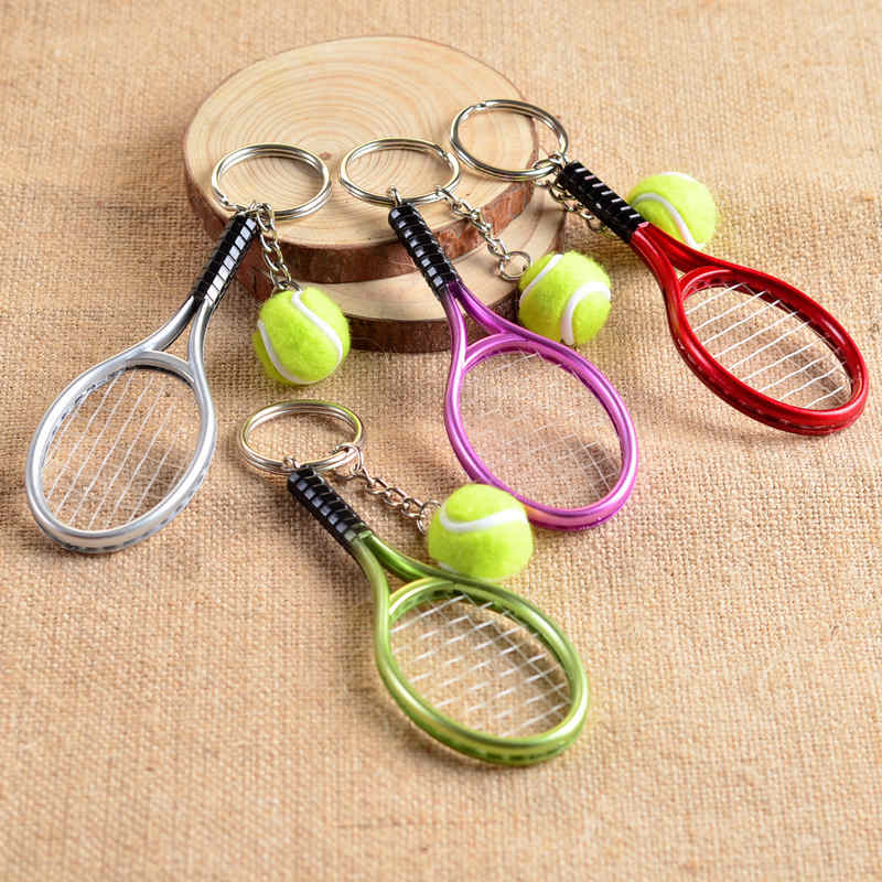 Cute Sport Mini Tennis Racket Pendant Keychain Keyring Key Chain Ring Finder Holer Accessories Gifts for Teenager