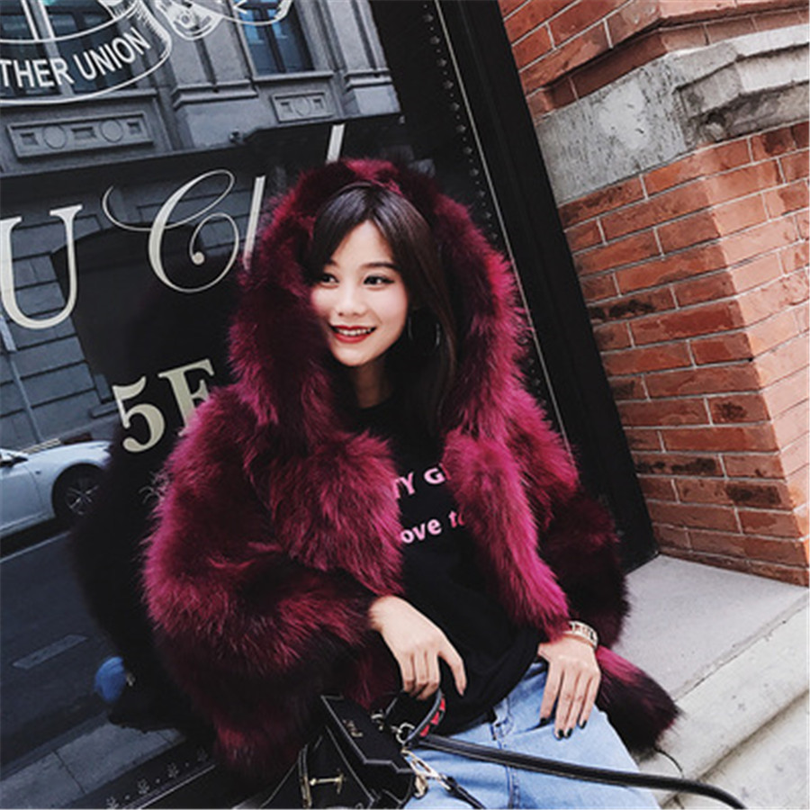 Invierno red Cuello Mujer Una Con De Versión Capucha Chaqueta black Nuevo Blue Capa Piel Wine Palabra Caliente Corta 2019 rXqr6axB