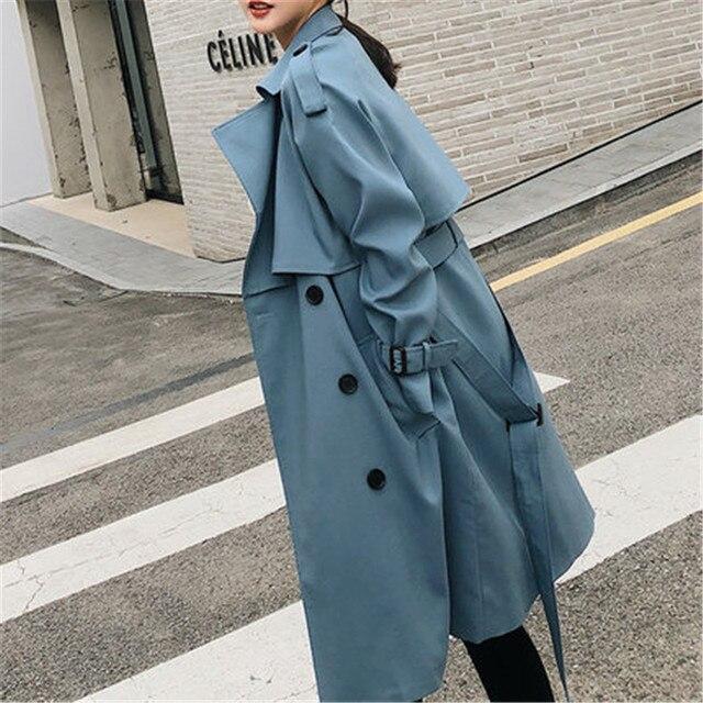Blusão Feminino 2019 Primavera Outono nova Coreano lazer chic solto senhoras X509 porto vento Casaco Longo para as mulheres azul
