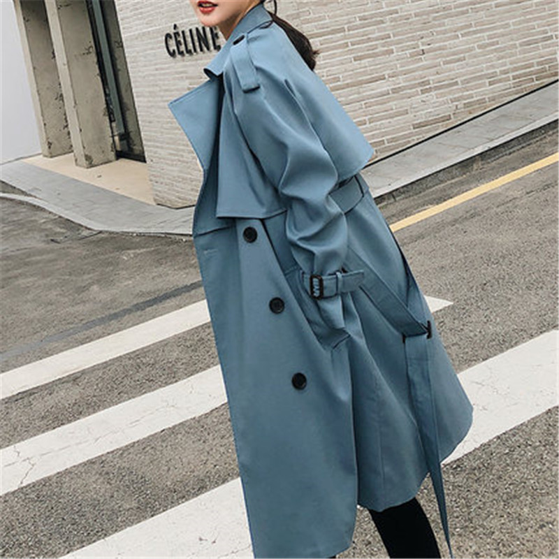 Windbreaker Female 2019 Spring Autumn new Korean leisure chic loose ladies harbor wind Long   Trench   Coat for women X509 blue