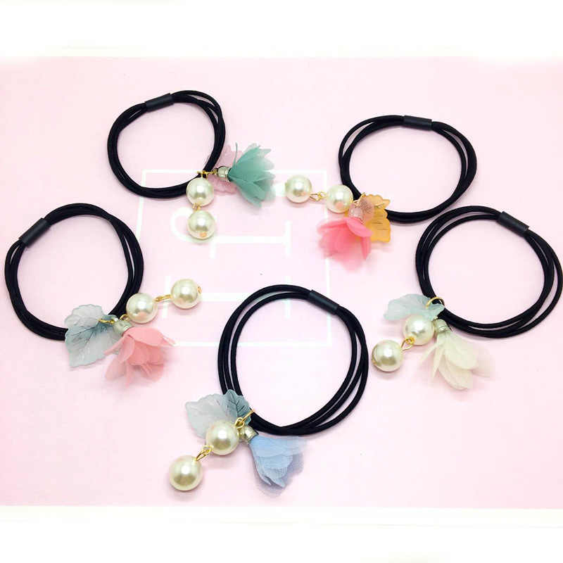Pearl flower hair ring, girls hair accessories do not hurt the hair, high elastic rubber band