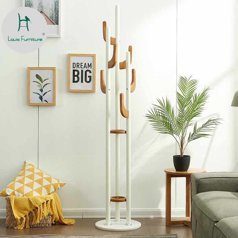 Louis Fashion Creative Coat Rack Floor Living Room Simple Bedroom Iron Art Clothes Household Modern Solid Wood Hanger