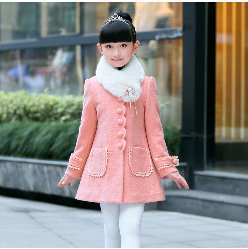 Winter Fashion Children Girls Woolen Coat Outerwear pink red coats girl Fur Collar Kids clothing free shipping 2017 new luxury faux fur coats fashion winter jacket for girls baby clothes parka elegant clothing little girl outerwear coat