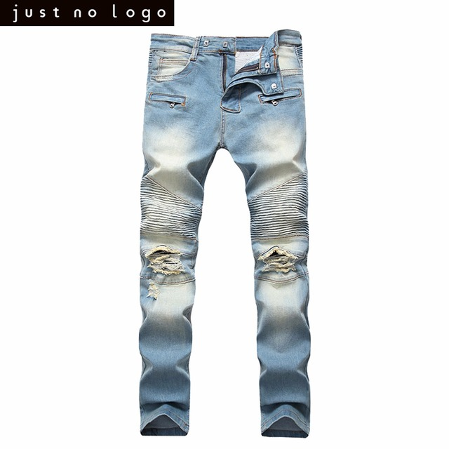 569eb628 Mens Light Bleached Blue Jeans Skinny Ripped Biker Jeans Straight Tapered  Slim Fit Denim Pants Distressed Frayed Trousers