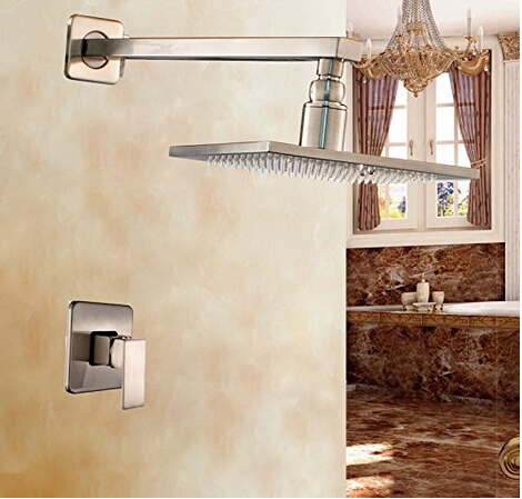 Solid 12 Inch Rainfall Top Shower Head with Single Handle Mixer Valve Brushed Nickel Shower Faucet