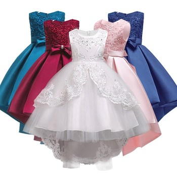 Girls Clothes Pearl Embroidery White Wedding Dress Children Christmas clothing Kids Party Dress baby Girls Princess dress