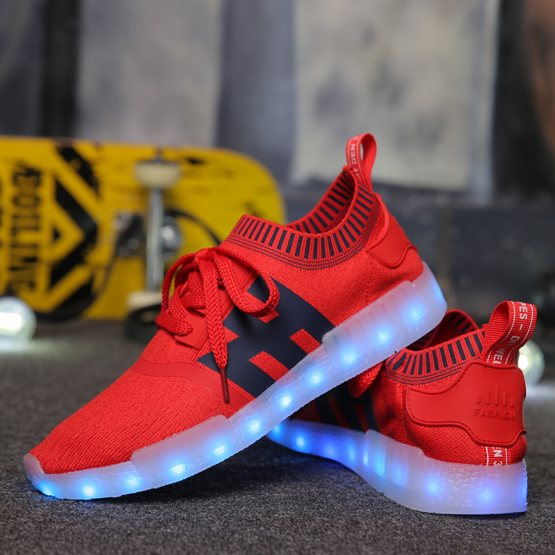 the latest 47b04 d9e5f US $72.99 |Unisex Chaussures Lumineuses Femme Hommes Colorful Led Glowing  Casual Shoes Male Female Light Up Sapatos Schuhe Scarpe Zapatos-in Men's ...