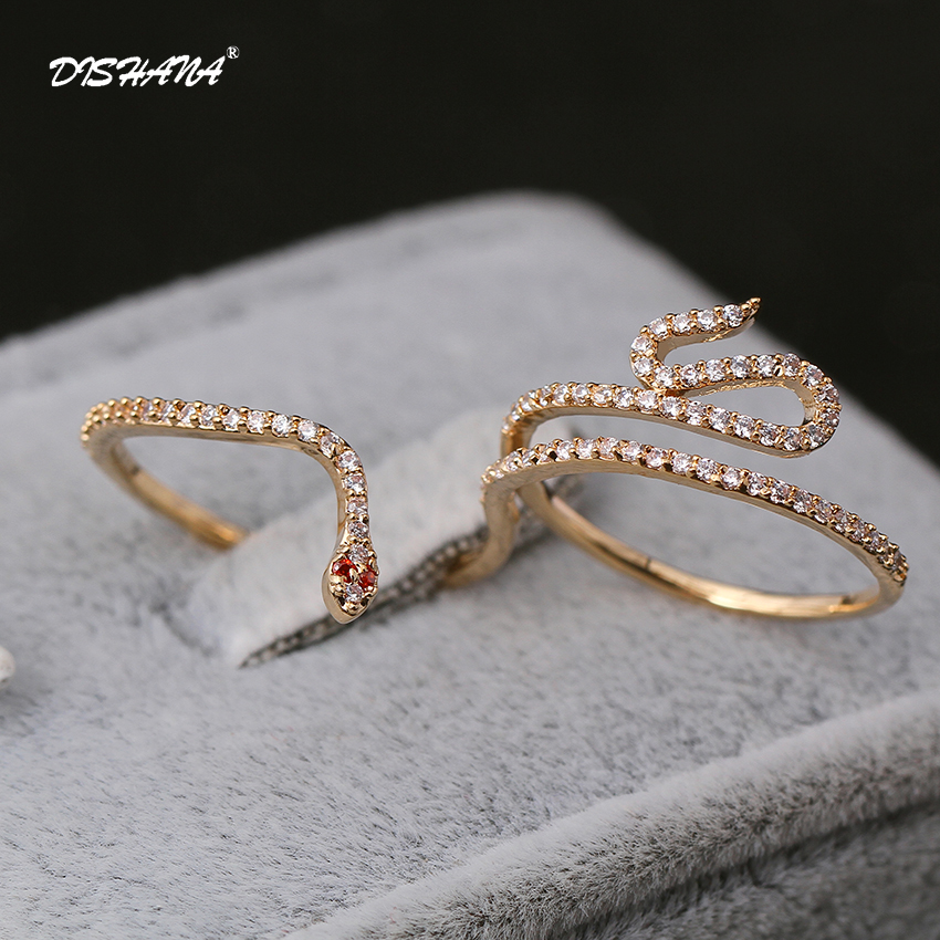 Fashion Party Jewelry Rings for Women Gold-color CZ Snake Dames Ringen Design Christmas Gift Bague Femme Open Rings(KA0167) men wedding band cz rings jewelry silver color anillos bague aneis ringen promise couple engagement rings for women