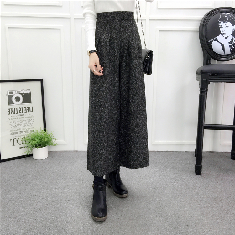 ZHISILAO Loose Trousers Women Winter Warm Wool Wide Leg Pants Maxi Plaid High Waist Trousers Elastic Thick Black Pants Casual 17