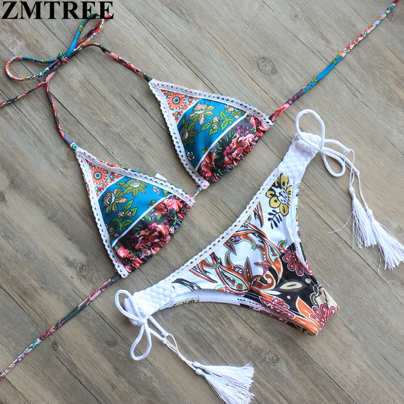 ZMTREE Sexy Lace Bikinis Set 2017 Padded Bikini Swimsuit Women Retro Swimwear Tassel Bathing Suit Biquini Maillot De Bain Femme