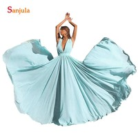 Turquoise Bridesmaids Dresses Deep V neck A line Long Wedding Party Gowns Simple Chiffon Dance Dress Women BY98