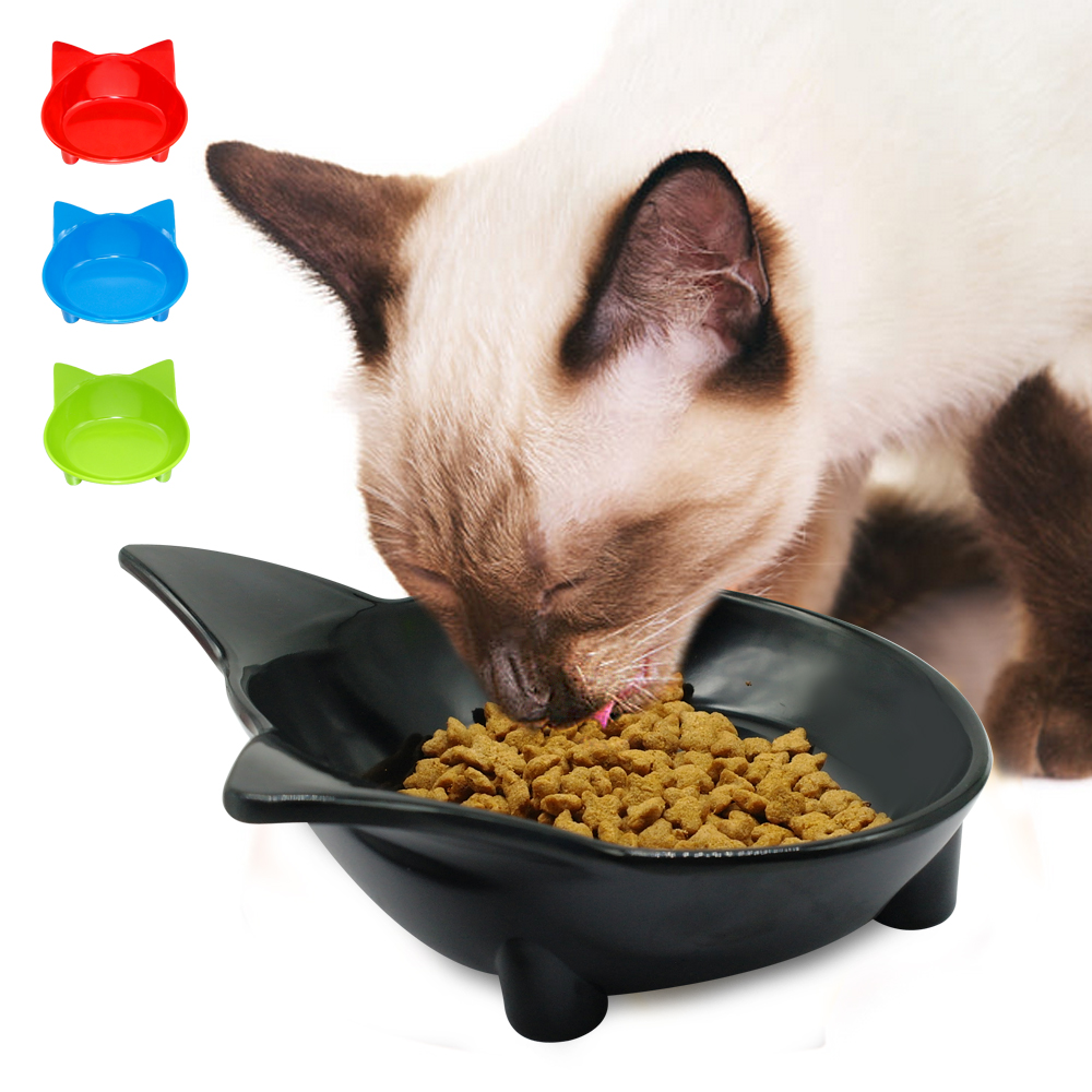 Cat Dog Feeding Bowl Cat Puppy Food Dish Container Pet Puppy Drink Water Bowl Non Slip Black Red Blue Colors