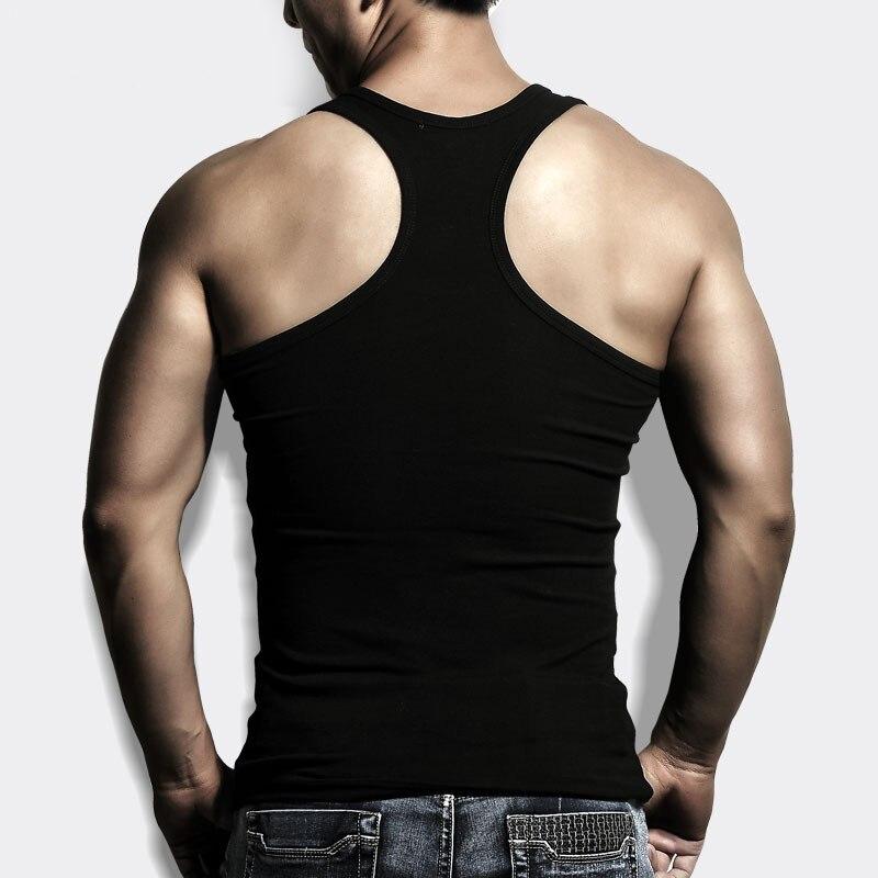Мужская Лето Чистого Хлопка Похудения Жилет Основной Рубашка Туго Тонкий Хорошую Форму Тела Фитнес Топы