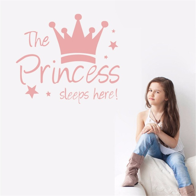 Yanqiao The Princess Sleeps Here Crown Pink Wall Sticker Quote Kids Room Girl Bedroom Mural Art Decal Decor