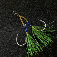 #2 #1 2/0 4/0 Rigged High Carbon Steel Tandem Double Hooks for Slow Pitch Jigging Lures Assist Hooks Fishing Seawater Boat