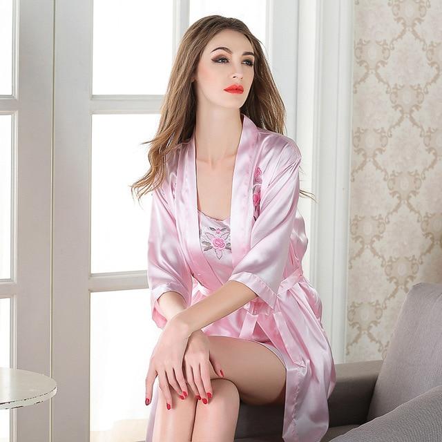 24c78037638 Women  s pajamas spring and summer sexy silk imitation silk women  s nightgown  two