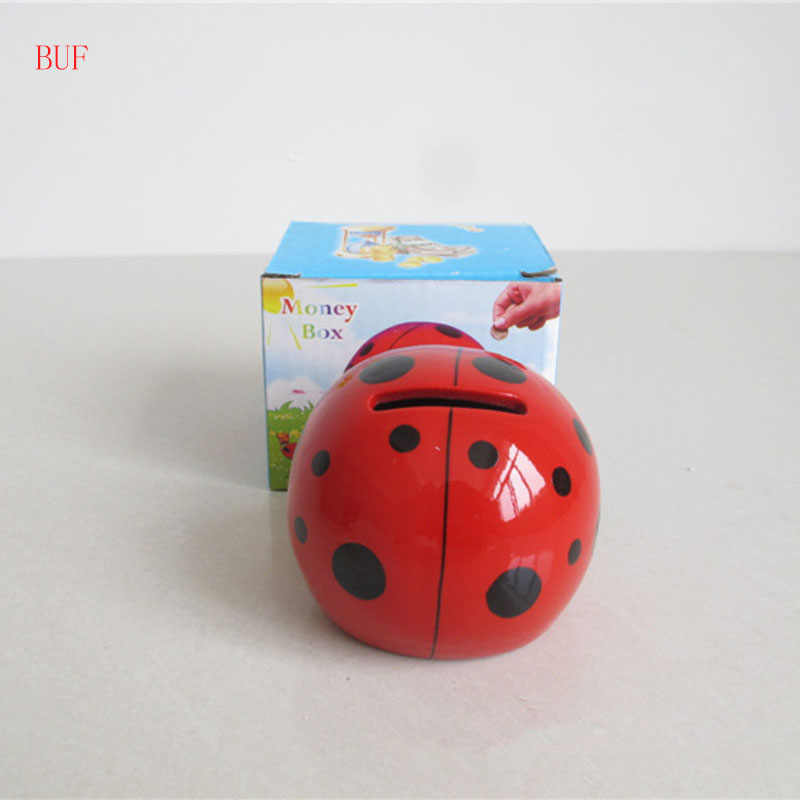 BUF Ceramic Ladybug Piggy Box Ornament Modern Home Decoration Cute Insect Piggy Bank Cash Coin Saving Box Creative Money Box