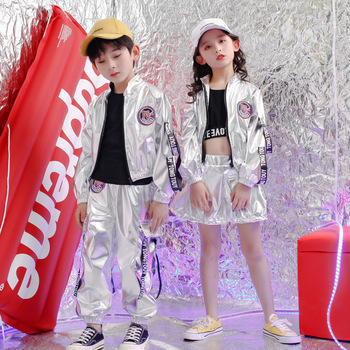 New Kids Hip Hop Clothing for Girls Boys Crop Tank Tops Shirt PU Jacket Short Pants Jazz Dance Costume Ballroom Dancing Clothes