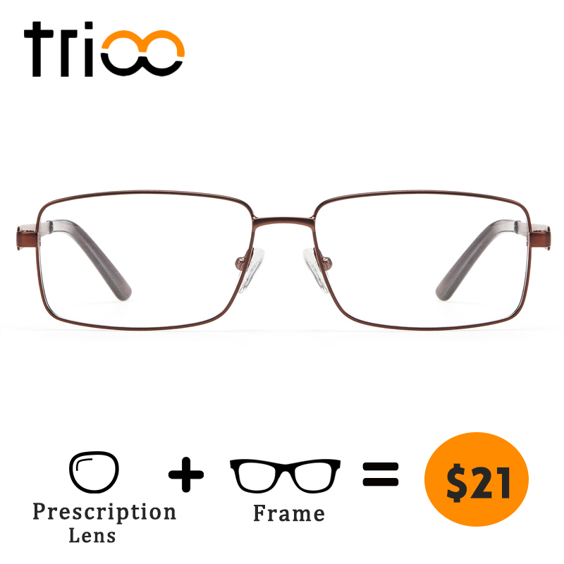 TRIOO Myopia Glasses Men Square Eyeglasses Prescription Clear Eyewear Astigmatic Quality Metal Spectacles Lentes Gafas Oculos