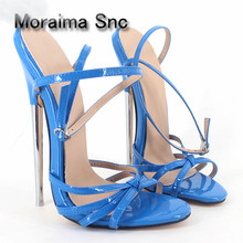Moraima Snc brand ladies sandals summer animal prints Leopard 18 CM stiletto shoes metal extremely high heels sandals women 2018