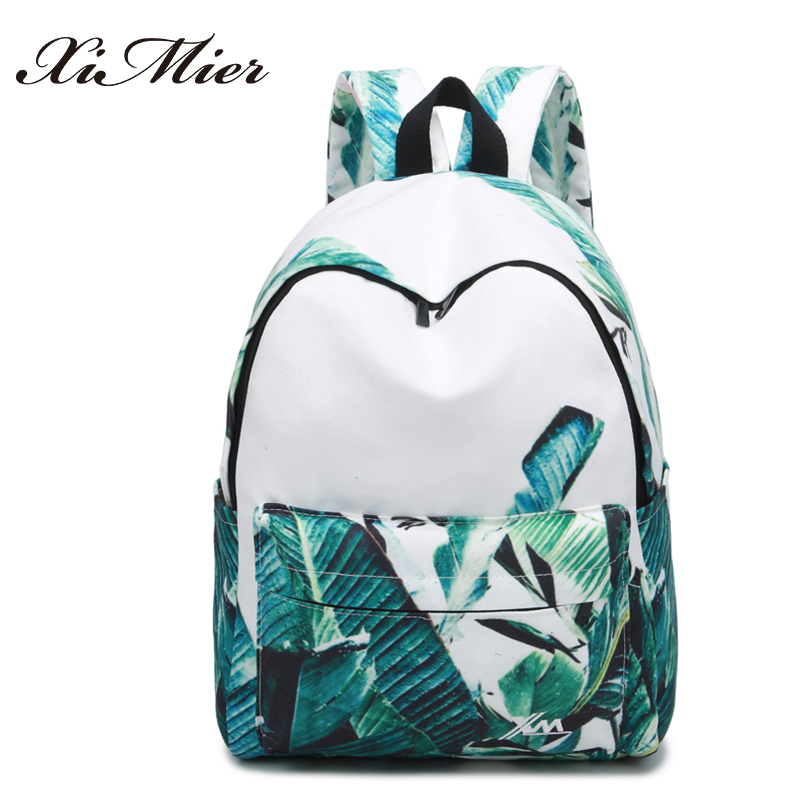 fashion printing women backpack beautiful leaves big school bags for girls gorgeous multifunction female travel canvas
