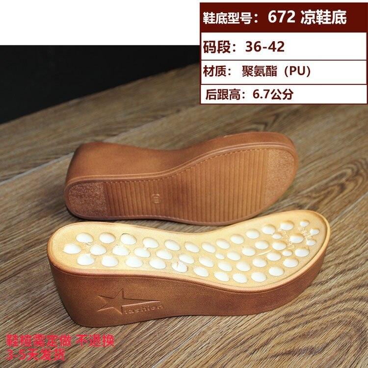 Женские босоножки; Полиуретановые подошвы из ПУ; на толстой подошве; кожаная обувь ручной работы; аксессуары; подошва; 672