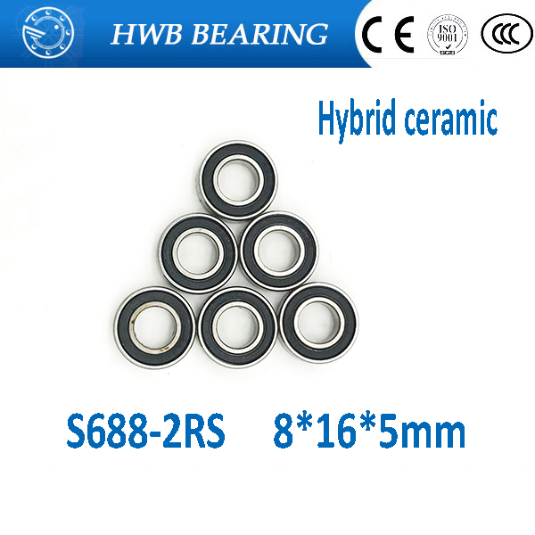 Free Shipping S688 2RS 8x16x5mm Stainless steel hybrid ceramic SI3N4 ball bearing  S688-2RS 8*16*5mm for bike part free shipping 50pcs lot miniature bearing 688 688 2rs 688 rs l1680 8x16x5 mm high precise bearing usded for toy machine