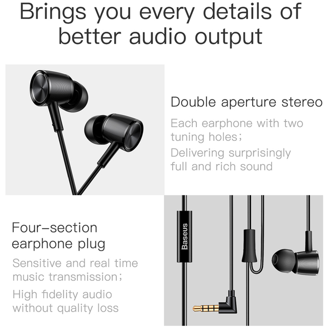Baseus H07 Hi-Res Audio Wired Earphone Stereo Bass Sound Headset Metal In-Ear Earphone With Mic 3.5mm Jack Earbuds Earpiece