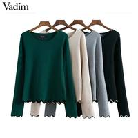 Vadim Women Basic Wave Elastic Thin Knitted Sweaters Long Sleeve O Neck Candy Colors Pullovers Autumn