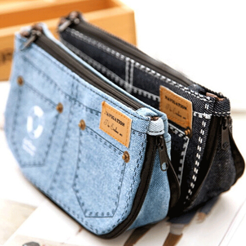 Jean Blue Women's Makeup Bag Organizer Denim Canvas Purse Phone Bag Travel Toiletry Ladies Pouch Beauty Case Women Cosmetic Bag