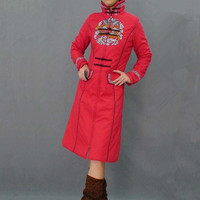 Free Shipping 2013 New Arrival Winter Red Traditional Chinese Style Long Cheongsam Thick Cotton Padded Jacket