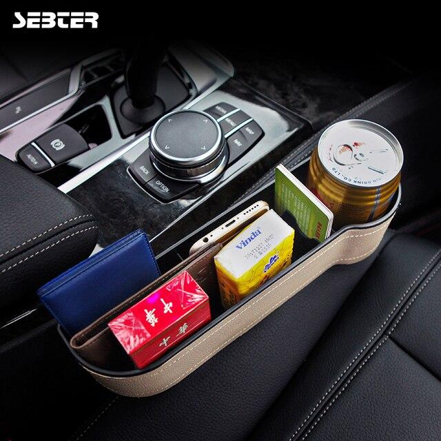 SEBTER Storage Box Car Organizer Seat Gap Leather Case Pocket Car Seat Side Slit for Wallet Phone Coins Cigarette Keys Cards