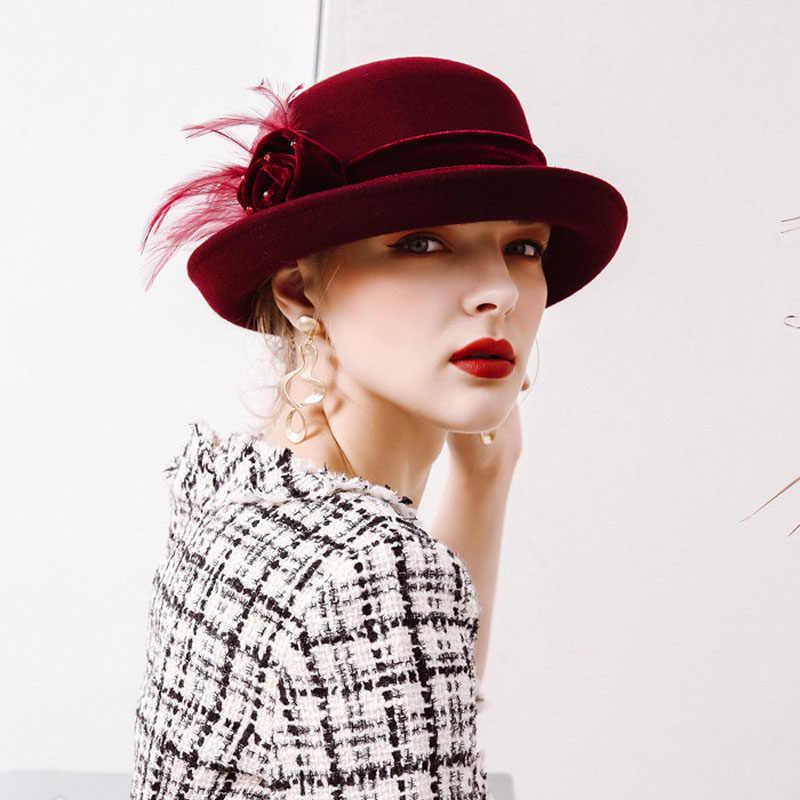 fbdfe00a0 Fibonacci 2017 New Autumn Winter Female Elegant Fedoras Wool Felt Flowers  Dome Flanging Banquet Women Fedora Hats