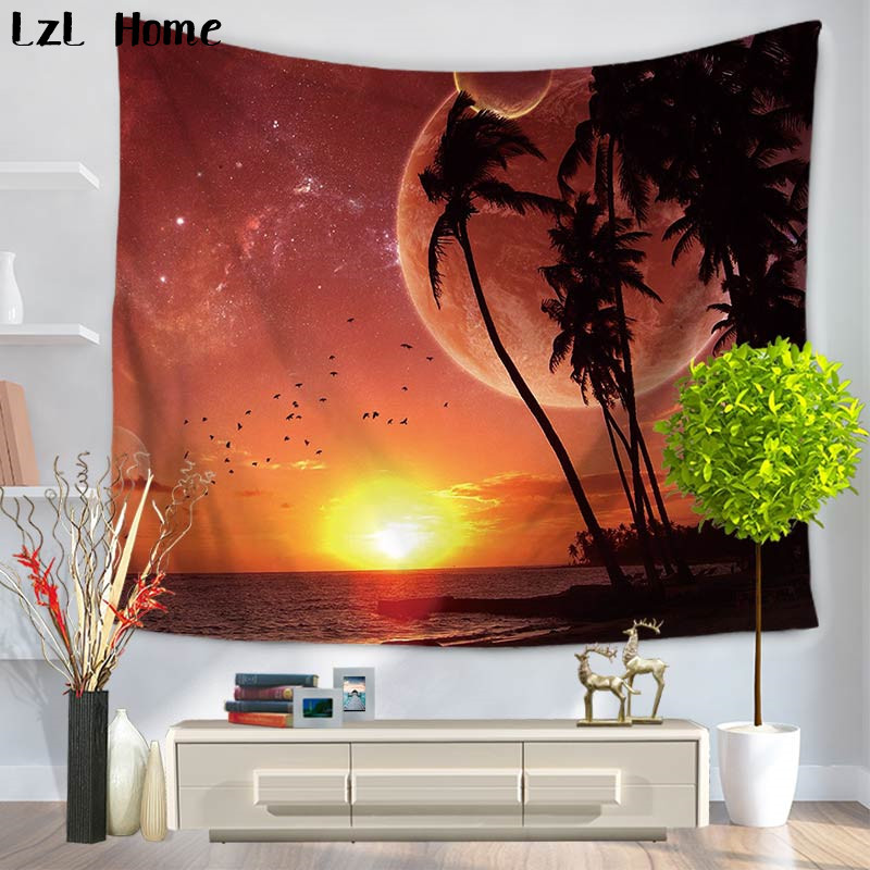 LzL Home Tropical Island Palm Tree Tapestry Blue Ocean Wall Hanging Tapestry Art Decor Livingroom Bedroom Dorm Cover Beach Towel
