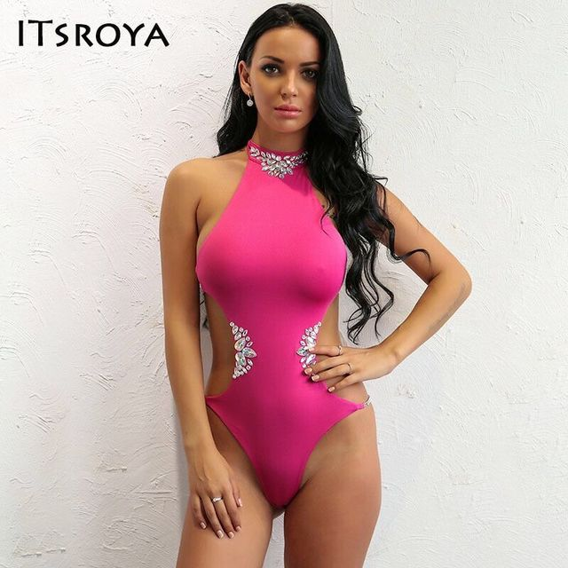 0bc5b426c1a12 Itsroya Brand New Designer Solid With Crystal Swimsuit Monokini One-Piece  Halter Bathing Suit Bodysuit Swimwear Set 2017