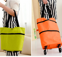 Travel Portable folding shopping cart portable Cheap Big Capacity foldable trolley bag with wheel
