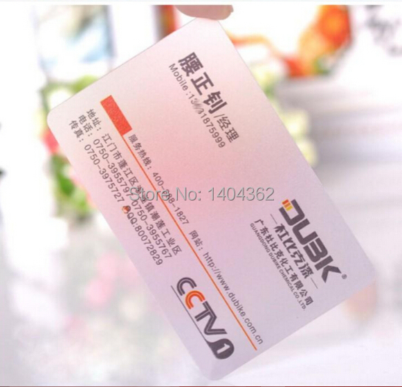 Customized business card printing Plastic transparent /White ink PVC Business Card one faced printing 500 Pcs/lot NO.2201