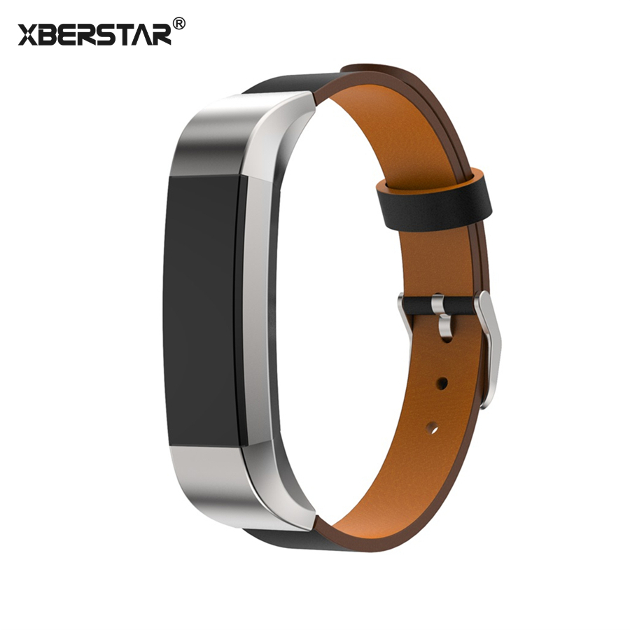 XBERSTAR for Fitbit Alta Replacement Watchband Strap Activity and Sleep Tracker Replacement Genuine Leather Wrist Strap Band