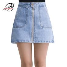 Borisovich 2017 New Spring Slim Personality Zipper Denim Skirts Big Pocket Pure Color A-line Denim Skirt Female M380