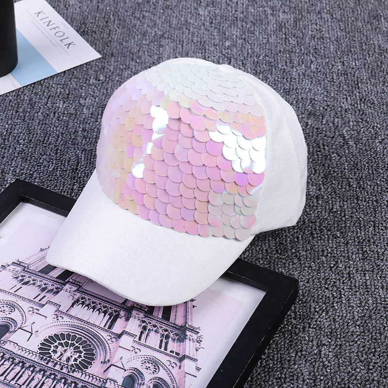 f56fbc355a0 Women Baseball Cap Pink Fish Scale Sequins Caps Casual Snapback Hat For  Girl Casquette Gorras Bone Hip Hop Summer Female Fashion-in Baseball Caps  from Men s ...