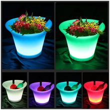 SK-LF08 (L36.5*W32.5*H27.2cm) Rechargeable LED Flower Pots Glowing light Planters Vases PE Material Free Shipping 6pcs/Lot