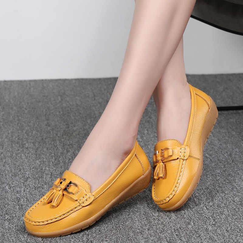 נשים נעלי 2019 אביב קיץ אמא נעלי אישה דירות רך תחתון אמיתי עור גבירותיי בלט ופרס שטוח נעלי סניקרס