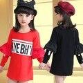 Children's Wear New Spring Girls Princess Flare Long Sleeve Render Satchel Buttock Wear T-shirt Kids Clothing Letters Red Black