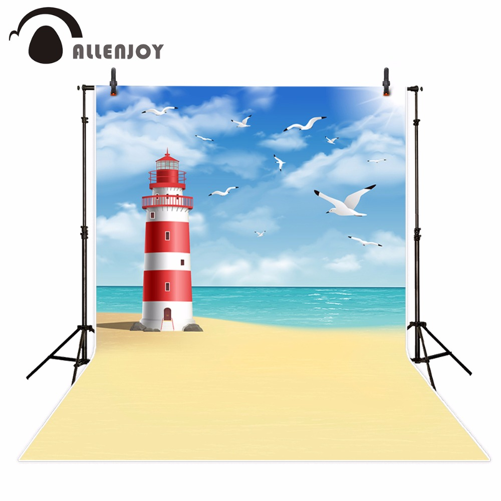 Allenjoy photography background cartoon sea beach seagull blue sky backdrop photocall photo studio photo prop photobooth
