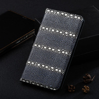For ZTE AXON 7 Max C2017 Case Pearl Fish Texture Magnet Stand Flip Cover Genuine Leather