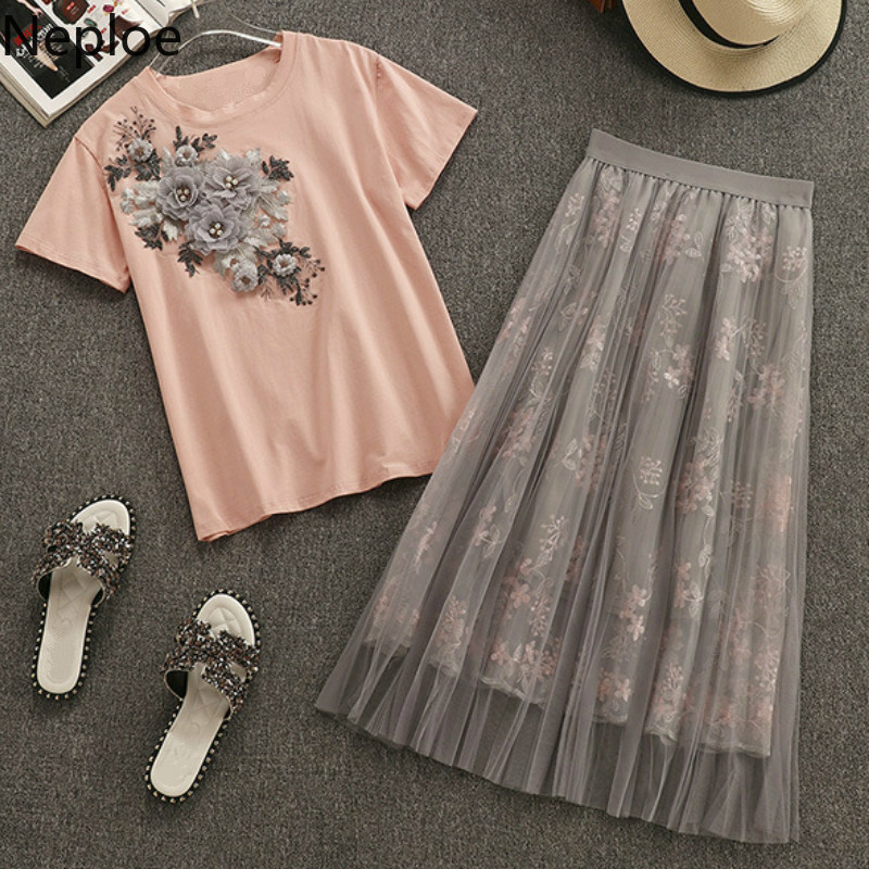 Neploe Women Two Piece Set Summer 2019 Appliques Beading O-Neck Short Sleeve T Shirts+mesh Flower Pattern Skirts 43785