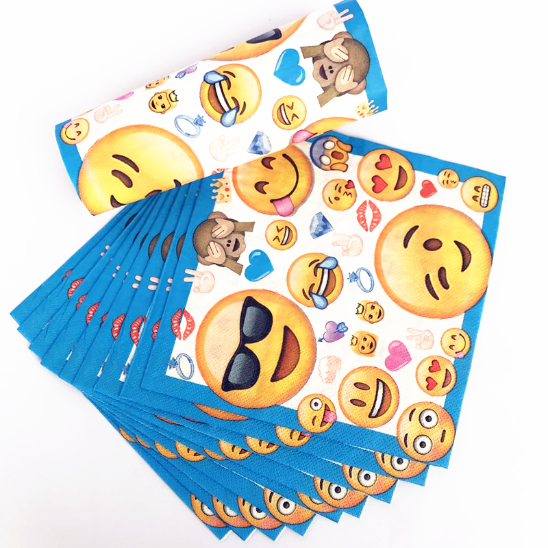 Detail Feedback Questions About 10pcs Emoji Themed Birthday Banner Decorative Napkins Smile Baby Party Ideas Personalized Serviettes Decorations