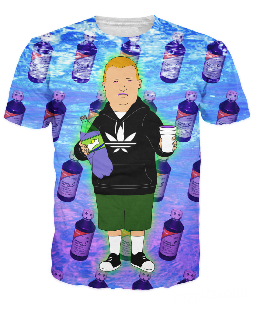 3d Fashion Clothing Summer Style Rap Game Bobby Hill With Purple Drank T Shirt Cartoon King Of